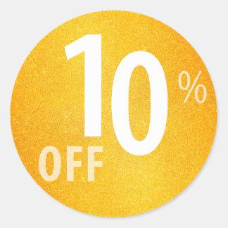 Powerful 10% OFF SALE Sign | Orange Glitter Classic Round Sticker