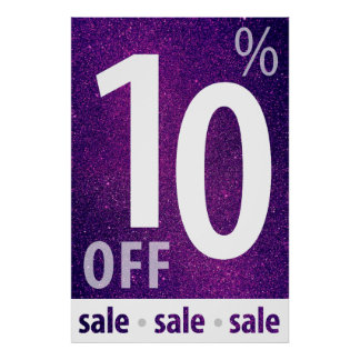 Powerful 10% OFF SALE Sign | Purple Glitter Poster