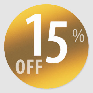 Powerful 15% OFF SALE Sign | Gold Classic Round Sticker