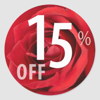 Powerful 15% OFF SALE Sign | Red Rose Classic Round Sticker