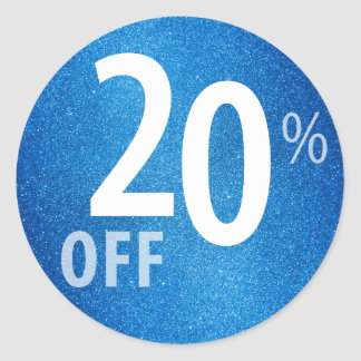 Powerful 20% OFF SALE Sign | Blue Glitter Classic Round Sticker