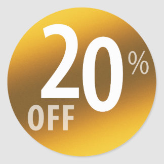 Powerful 20% OFF SALE Sign | Gold Classic Round Sticker