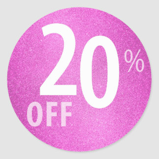 Powerful 20% OFF SALE Sign | Pink Glitter Classic Round Sticker
