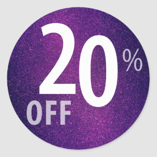 Powerful 20% OFF SALE Sign | Purple Glitter Classic Round Sticker