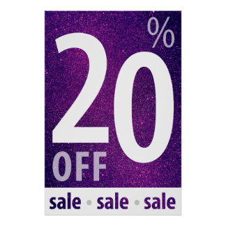 Powerful 20% OFF SALE Sign | Purple Glitter Poster