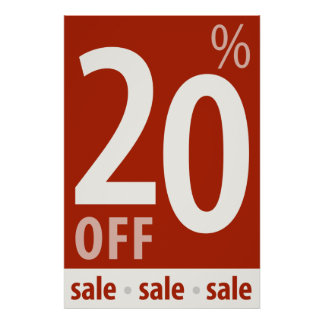Powerful 20% OFF SALE Sign - retail sales poster