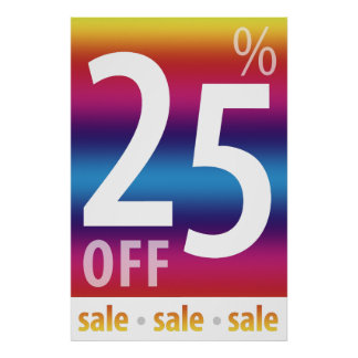 Powerful 25% OFF SALE Sign | Colorful Poster