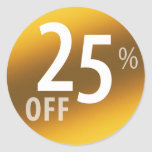 Powerful 25% OFF SALE Sign | Gold Classic Round Sticker