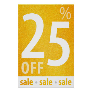 Powerful 25% OFF SALE Sign | Orange Glitter Poster