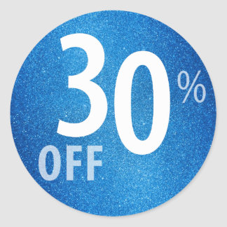 Powerful 30% OFF SALE Sign | Blue Glitter Classic Round Sticker