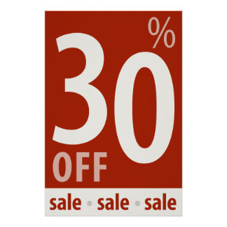 Powerful 30% OFF SALE Sign - retail sales poster