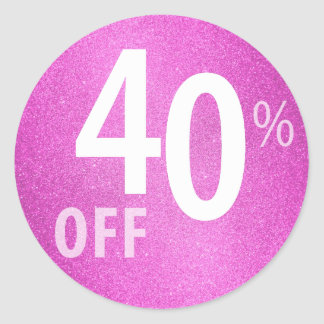 Powerful 40% OFF SALE Sign | Pink Glitter Classic Round Sticker