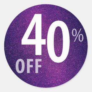 Powerful 40% OFF SALE Sign | Purple Glitter Classic Round Sticker
