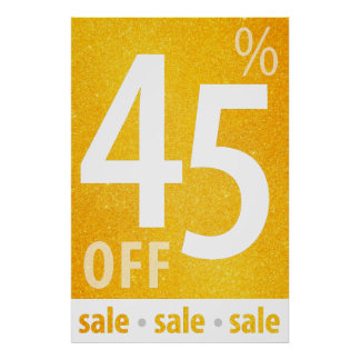 Powerful 45% OFF SALE Sign | Orange Glitter Poster