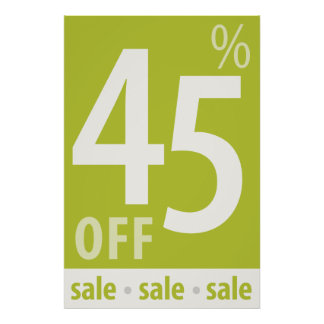 Powerful 45% OFF SALE Sign - retail sales poster