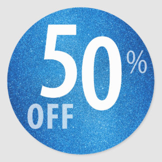 Powerful 50% OFF SALE Sign | Blue Glitter Classic Round Sticker