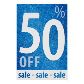 Powerful 50% OFF SALE Sign | Blue Glitter Poster