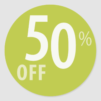 Powerful 50% OFF SALE Sign Classic Round Sticker