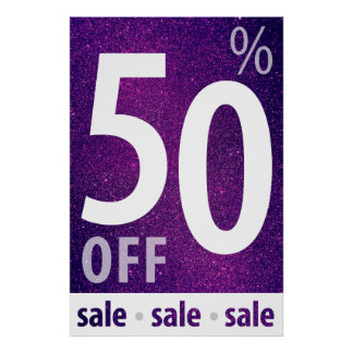 Powerful 50% OFF SALE Sign | Purple Glitter Poster