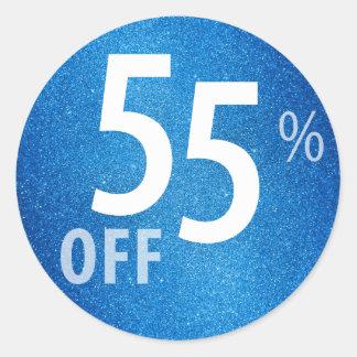 Powerful 55% OFF SALE Sign | Blue Glitter Classic Round Sticker