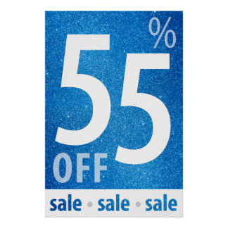 Powerful 55% OFF SALE Sign | Blue Glitter Poster