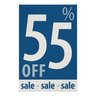Powerful 55% OFF SALE Sign - retail sales poster