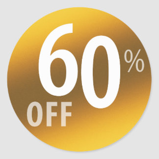 Powerful 60% OFF SALE Sign | Gold Classic Round Sticker