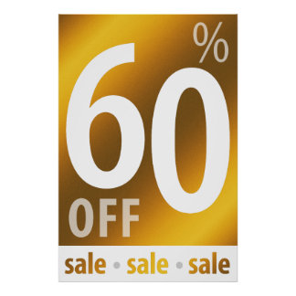 Powerful 60% OFF SALE Sign | Golden Poster
