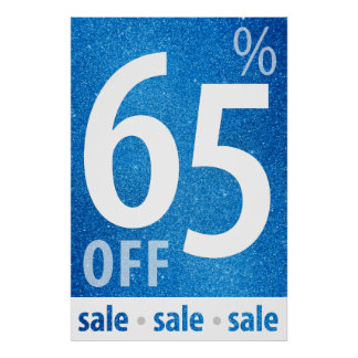 Powerful 65% OFF SALE Sign | Blue Glitter Poster