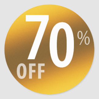 Powerful 70% OFF SALE Sign | Gold Classic Round Sticker
