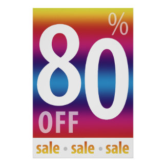 Powerful 80% OFF SALE Sign | Colorful Poster