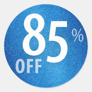 Powerful 85% OFF SALE Sign | Blue Glitter Classic Round Sticker