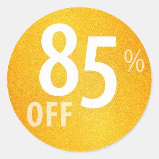 Powerful 85% OFF SALE Sign | Orange Glitter Classic Round Sticker