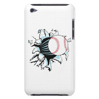 powerful baseball ripping through Case-Mate iPod touch case