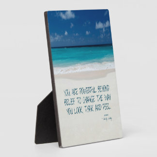 Powerful Beyond Belief Beach Fitness Quote Plaque