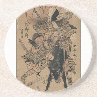 Powerful Female Samurai Defeating Male Samurai Drink Coasters