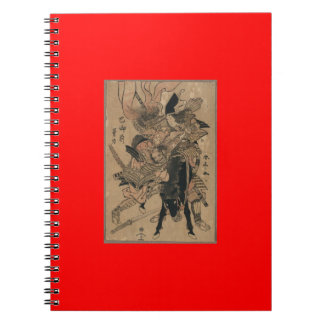 Powerful Female Samurai Defeating Male Samurai Spiral Note Book