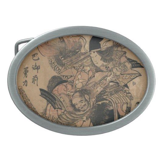 Powerful Female Samurai Defeating Male Samurai Oval Belt Buckle