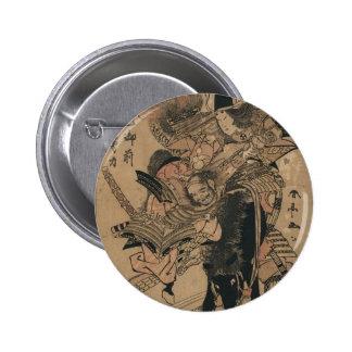 Powerful Female Samurai Defeating Male Samurai Pinback Button