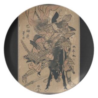 Powerful Female Samurai Defeating Male Samurai Plate