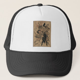 Powerful Female Samurai Defeating Male Samurai Trucker Hat