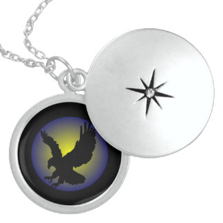 POWERFUL NINJA EAGLE FLYING- BLACK SILOHUETTE STERLING SILVER NECKLACE