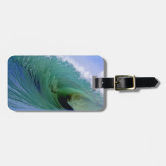 Powerful surfing wave luggage tag