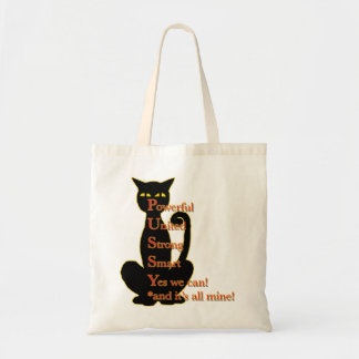 Powerful Woman cat design Canvas Bags