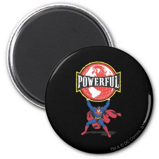 Powerful World Superman 2 Inch Round Magnet