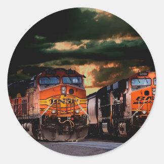 Powerfull locomotives ready to haul classic round sticker