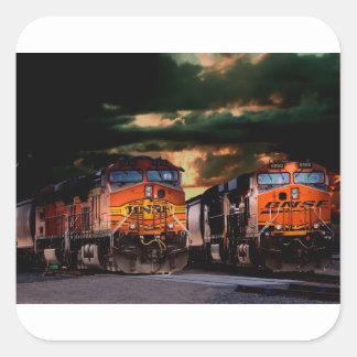 Powerfull locomotives ready to haul square sticker