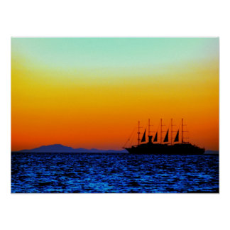 powerfull sunset and sailing boat poster