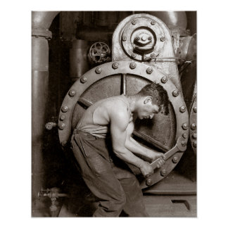 Powerhouse Worker, 1920. Vintage Photo Poster