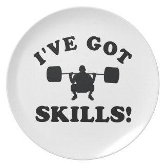 powerlift skills Vector Designs Party Plates